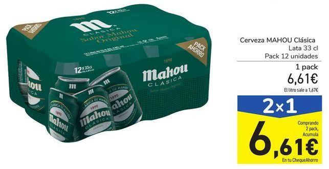 Oferta de Cerveza MAHOU Clásica por 6,61€