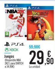 Oferta de Juegos PS4 XBOX por 29,9€