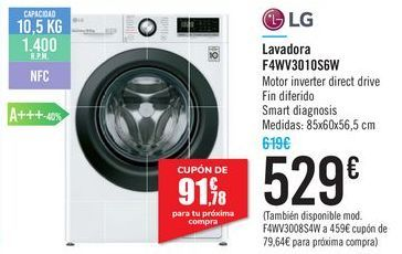 Oferta de Lavadora F4WN3010S6W LG  por 529€