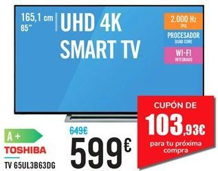 Oferta de TV 65UL3B63DG TOSHIBA  por 599€