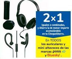 Oferta de En TODOS los auriculares y mini altavoces de las marcas POSS y Bluesky por