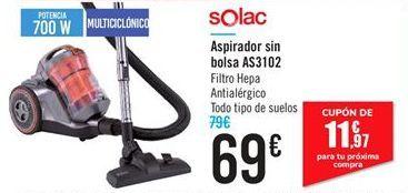 Oferta de Aspirador sin bolsa AS3102 Solac por 69€