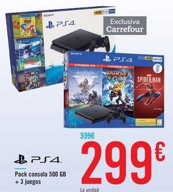 Oferta de PS4 Pack consola 500GB + 3 Juegos  por 299€