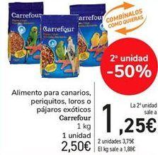 Oferta de Alimento para canarios, periquitos, loros o pájaros exoticos Carrefour  por 2,5€