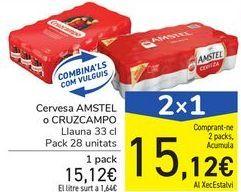Oferta de Cerveza AMSTEL o CRUZCAMPO por 15,12€