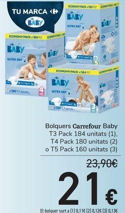 Oferta de Pañalaes Carrefour Baby  por 21€