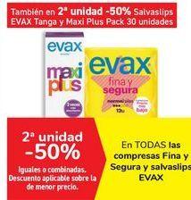 Oferta de En TODAS las compresas Fina y Segura y Salvaslips EVAX  por