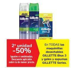 Oferta de En TODAS las maquinillas desechables GILLETTE Blue 3 y geles y espumas GILLETTE Series  por