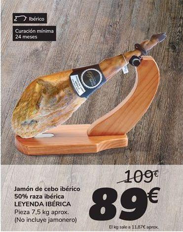 Oferta de Jamón de cebo ibérico 50% raza ibérica LEYENDA IBÉRICa por 89€