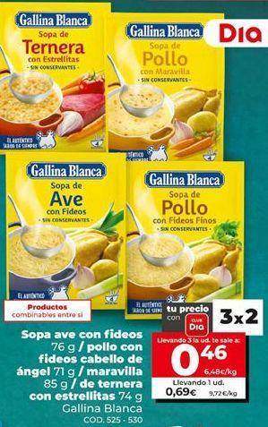 Oferta de Sopa Gallina Blanca por 0,69€