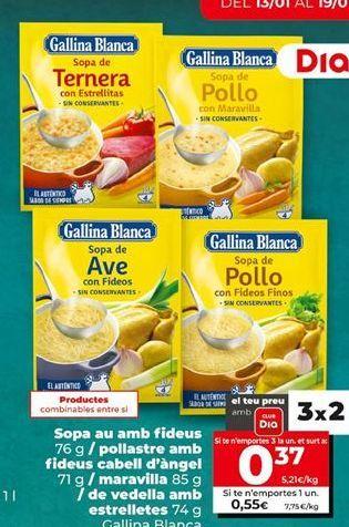 Oferta de Sopa Gallina Blanca por 0,55€