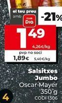 Oferta de Salchichas jumbo Oscar Mayer por 1,89€