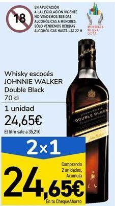 Oferta de Whisky escocés JOHNNIE WALKER Double Black  por 24,65€