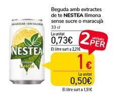 Oferta de Bebidas con extractos de té NESTEA Limón sin azúcar o Maracuyá  por 0,73€