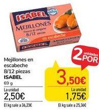 Oferta de Mejillones en escabeche 8/12 piezas ISABEL  por 2,5€