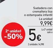 Oferta de Sudadera con cremallera lisa o estampada infantil por 9,99€