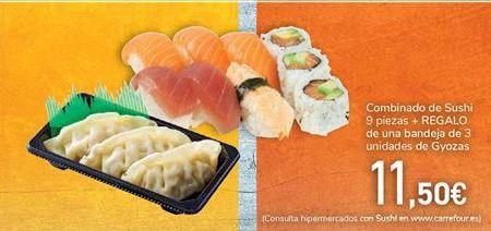 Oferta de Combinado de Sushi + REGALO de una bandeja dde Gyozas  por 11,5€
