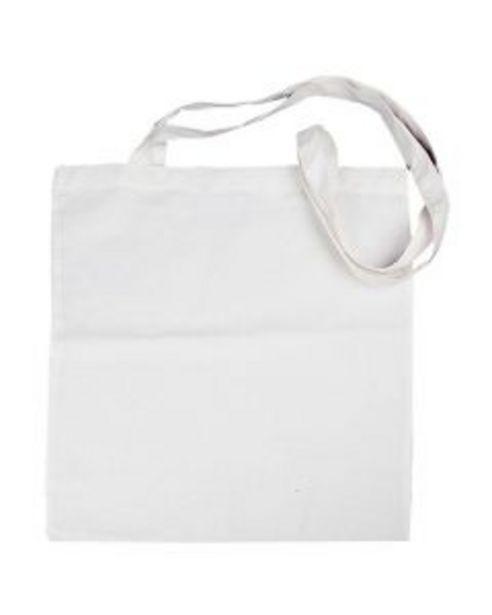 Oferta de Bolsa de tela algodón blanco con asa 38x42cm por 2,75€