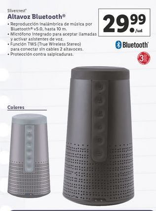 Oferta de Altavoces bluetooth SilverCrest por 29,99€