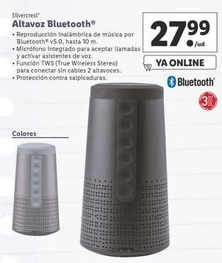 Oferta de Altavoces bluetooth SilverCrest por 27,99€