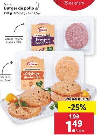 Oferta de Hamburguesas de pollo Serrano por 1,49€