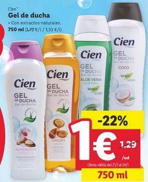 Oferta de Gel de baño Cien por 1€