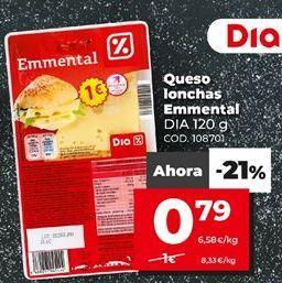 Oferta de Queso en lonchas Dia por 1€