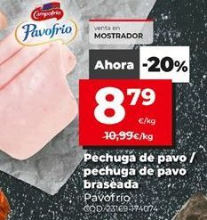 Oferta de Pechuga de pavo Campofrío por 8,79€