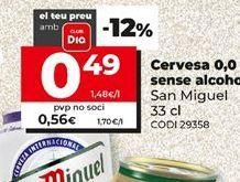 Oferta de Cerveza sin alcohol San Miguel por 0,49€