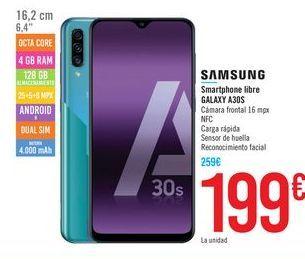 Oferta de Smartphone libre GALAXY A30S SAMSUNG  por 199€