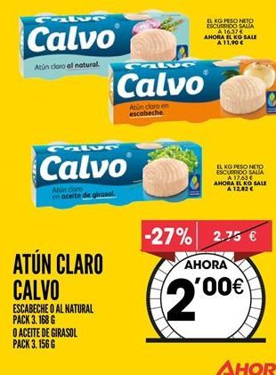 Oferta de Atún claro Calvo por 2€