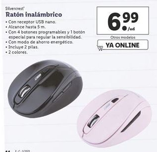 Oferta de Ratón inalámbrico SilverCrest por 6,99€