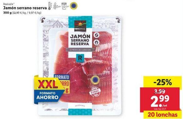 Oferta de Jamón serrano Realvalle por 2,99€