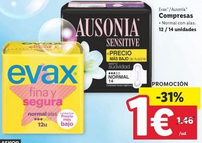 Oferta de Compresas Evax por 1€