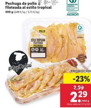 Oferta de Pechuga de pollo por 2,29€