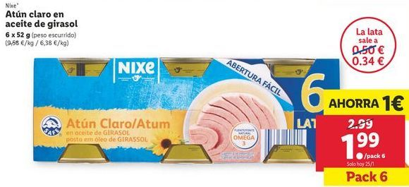 Oferta de Atún en aceite de girasol nixe por 1,99€