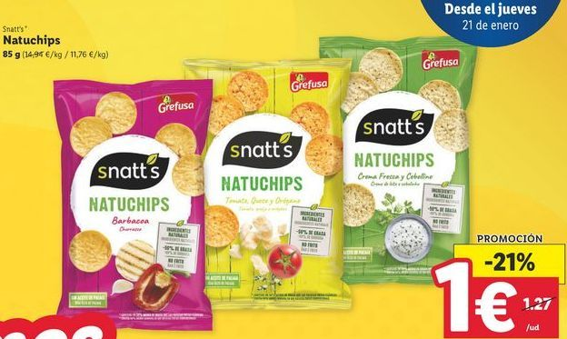 Oferta de Snacks snatt's por 1€
