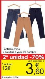 Oferta de Pantalón chino, 5 bolsillos o vaquero hombre por 12€