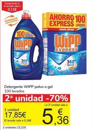 Oferta de Detergente WIPP Polvo o gel 100 Lavados  por 17,85€