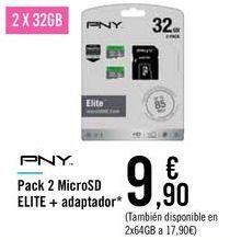 Oferta de Pack 2 MicroSD ELITE + adaptador  por 9,9€