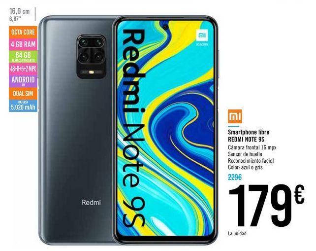 Oferta de Smartphone libre redmi NOTE 9S por 179€