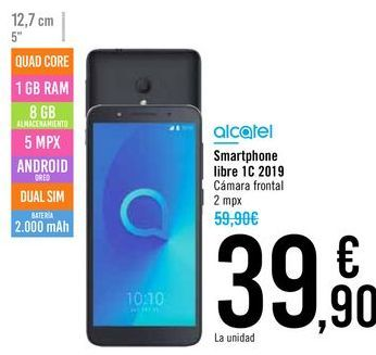 Oferta de Smartphone libre 1C 2019 ALCATEL por 39,9€
