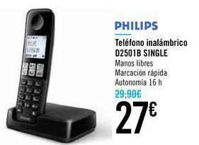 Oferta de Teléfono inalámbrico D2501B SINGLE PHILIPS por 27€