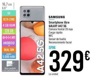 Oferta de Smartphone libre GALAXY A42 5G SAMSUNG por 329€