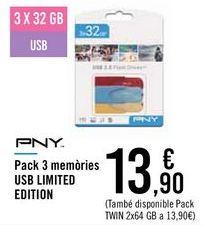 Oferta de Pack 3 memorias USB LIMITED EDITION  por 13,9€