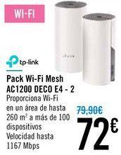 Oferta de Pack Wi-Fi Mesh AC1200 DECO E4 - 2  por 72€