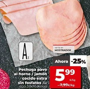 Oferta de Pechuga de pavo al horno/jamón cocido extra sin fosfatos por 5,99€