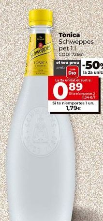 Oferta de Tónica Schweppes por 1,79€