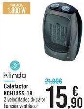 Oferta de Calefactor KCH18SS-18 Klindo  por 15,9€