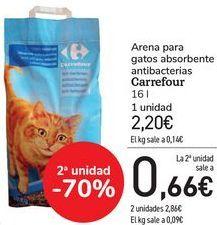 Oferta de Arena para gatos absorbentes antibacterias Carrefour  por 2,2€